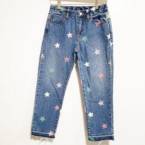 GAP Girl Denim Girlfriend Cropped Star Jeans